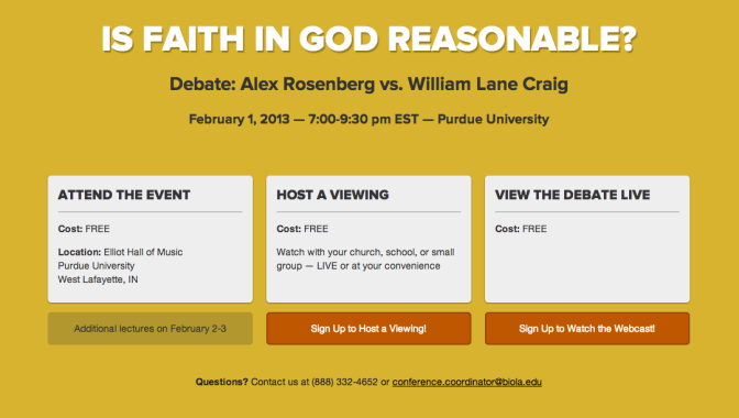 "Free Live Streaming of Dr. Craig vs. Rosenberg's Debate on ""Is Faith on God Reasonable?"""