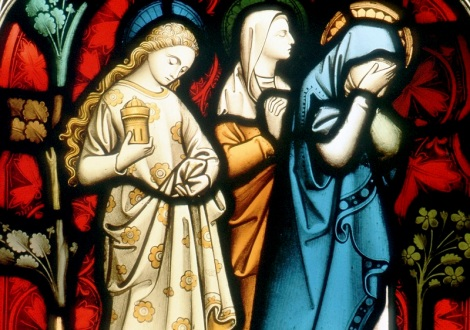 STAINED-GLASS WINDOW OF THREE WOMEN DISCOVERING CHRIST'S EMPTY TOMB