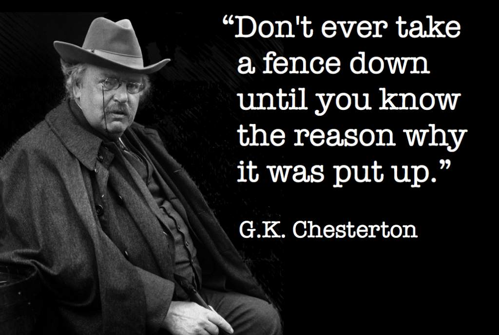 Sabbatum Excerpt: G.K. Chesterton on Taking Down a Fence